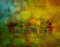De Vancouver horizon de ville AVANT JÉSUS CHRIST sur l'illustration grunge de fond Images stock