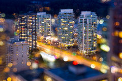 De Vancouver luces de la ciudad A.C. durante hora azul Imagen de archivo