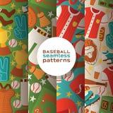 De vangerssportkleding en beslagen van het honkbal vector naadloze patroon baseballbat of bal voor de concurrentieachtergrond vector illustratie