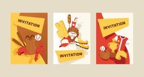 De vangerssportkleding en beslagen van het honkbal vectorpatroon baseballbat of bal voor de illustratie van de de concurrentieach stock illustratie