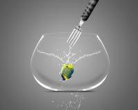 De vangstzeeëngel van de vork in fishbowl Stock Afbeelding