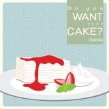 De vanille omfloerst Cake met de Saus van de Aardbei Stock Afbeelding