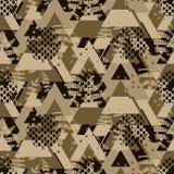 De varen gewaagd naadloos vectorpatroon van driehoeks bruin camo stock illustratie
