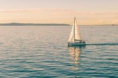 De varende jachten van het bootschip met witte zeilen stock afbeeldingen