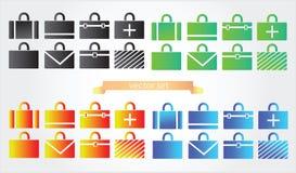 De varianten van gevalpictogrammen van aktentas Stock Fotografie