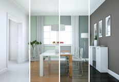 De variaties van de Splittedkleur van een modern zolder binnenlands ontwerp Stock Fotografie