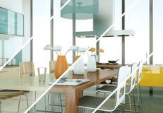 De variaties van de Splittedkleur van een moderne keuken met een mooi ontwerp Royalty-vrije Stock Fotografie