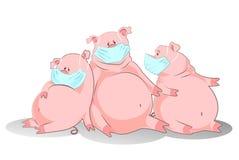 De varkens in een luchtmasker vertegenwoordigen varkensgriep Royalty-vrije Stock Afbeelding