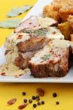 De varkensvleesribben met mosterd sluiten omhoog Royalty-vrije Stock Fotografie