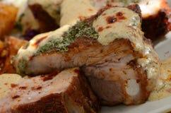 De varkensvleesribben met mosterd sluiten omhoog Royalty-vrije Stock Afbeelding
