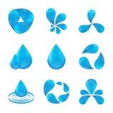 De vastgestelde abstracte ontwerpen van pictogramwateren Royalty-vrije Stock Afbeeldingen