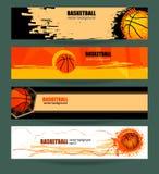 De vastgestelde banner van het Webbasketbal Stock Afbeeldingen