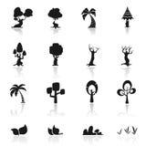 De vastgestelde bomen van het pictogram Royalty-vrije Stock Afbeeldingen