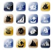 De vastgestelde boten van het pictogram Stock Foto's