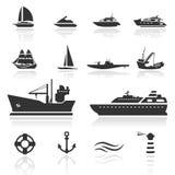 De vastgestelde Boten van het pictogram Royalty-vrije Stock Foto