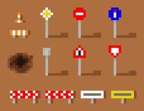 De vastgestelde bruine weg van pixelart vector road sign icon Royalty-vrije Stock Afbeelding