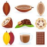 De Vastgestelde Cacao van het pictogram Stock Foto's