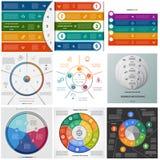 De vastgestelde cyclische processen van malplaatjesinfographics op vijf posities Royalty-vrije Stock Afbeelding