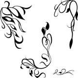 De vastgestelde decoratieve kalligrafische ontwerpelementen, bloeit paginadecor Stock Foto's