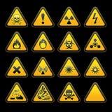 De vastgestelde driehoekige symbolen van het waarschuwingsseinenGevaar Stock Afbeeldingen
