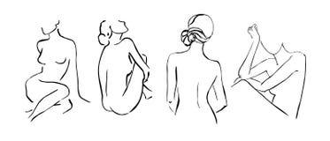 De vastgestelde eenvoudige hand getrokken in die dames van lijnsilhouetten op witte achtergrond worden geïsoleerd Moderne minimal vector illustratie