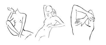 De vastgestelde eenvoudige hand getrokken in die dames van lijnsilhouetten op witte achtergrond worden geïsoleerd Moderne minimal royalty-vrije illustratie