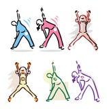 De vastgestelde Fitness van de Sport van de Aard van de Pictogrammen van het Lichaam van het meisje van de jongen Royalty-vrije Stock Fotografie