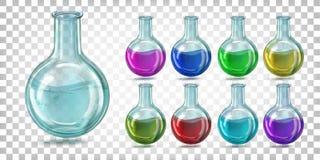 De vastgestelde fles van het glaslaboratorium om bodem met gekleurde vloeistof vector illustratie