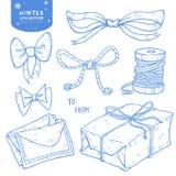 De vastgestelde gift van de Kerstmiswinter, boog, linten, brieven, streng stock illustratie
