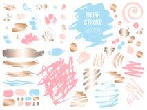 De vastgestelde gouden roze blog van de slagvlek Borstel, pen, teller, krijt, kwaststreek, lijnen, punten, goud stock illustratie