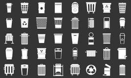 De vastgestelde grijze vector van het vuilnisbakpictogram Stock Foto's