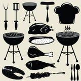 De vastgestelde grill van de pictogrammenbarbecue Stock Afbeelding
