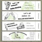 De vastgestelde hand getrokken kaartjes op Rollerdrom met Rolschaats en rusten uit Stock Fotografie