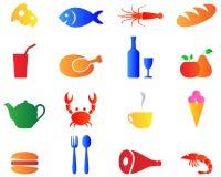 De vastgestelde heldere pictogrammen van het kleurenvoedsel Stock Fotografie