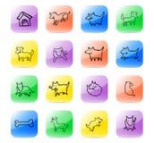De vastgestelde hond van het pictogram Vector Illustratie
