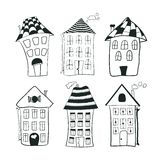 De vastgestelde huizen van het schets zwart-witte overzicht binnen Stock Afbeelding