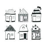 De vastgestelde huizen van het schets zwart-witte overzicht binnen Royalty-vrije Stock Afbeeldingen