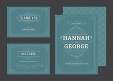 De vastgestelde huwelijksuitnodigingen bloeit ornamentenkaarten stock foto