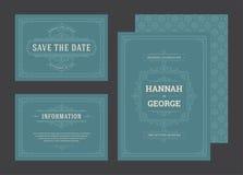 De vastgestelde huwelijksuitnodigingen bloeit ornamentenkaarten royalty-vrije stock foto's