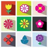 De vastgestelde illustratie eps10 van het bloempictogram stock illustratie