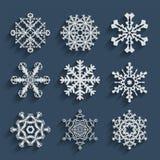 De vastgestelde inzameling van het sneeuwvlokkenpictogram Vectorvormen Stock Fotografie