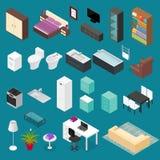 De Vastgestelde Isometrische Mening van het meubilairelement Vector Royalty-vrije Stock Foto