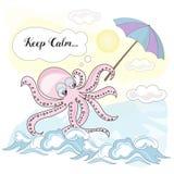 De Vastgestelde KALME OCTOPUS van schoolautumn sea underwater vector illustration stock illustratie