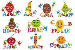 De vastgestelde karakters van het fruitbeeldverhaal Stock Afbeelding