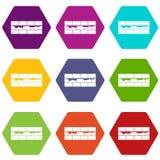 De vastgestelde kleur van het bakstenen muurpictogram hexahedron Royalty-vrije Stock Afbeelding