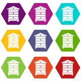 De vastgestelde kleur van het bijenkorfpictogram hexahedron Royalty-vrije Stock Afbeelding