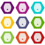 De vastgestelde kleur van het bijenkorfpictogram hexahedron Stock Afbeelding