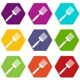 De vastgestelde kleur van het borstelpictogram hexahedron Stock Foto