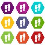 De vastgestelde kleur van het handschoenenpictogram hexahedron Royalty-vrije Stock Foto's