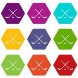 De vastgestelde kleur van het hockeypictogram hexahedron Royalty-vrije Stock Fotografie